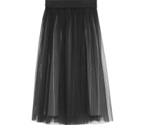 Pleated Cotton-blend Tulle Midi Skirt Dunkelgrau
