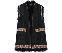 Faux Fur-trimmed Embroidered Jacquard Vest