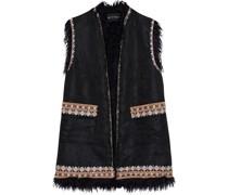 Faux Fur-trimmed Embroidered Jacquard Vest
