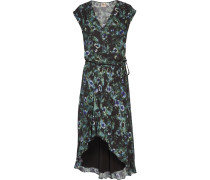 Asymmetric Ruffled Floral-print Crepe De Chine Dress Mehrfarbig
