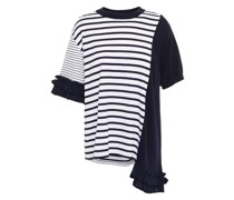 Asymmetric Ruffle-trimmed Striped Cotton-jersey And Knitted T-shirt