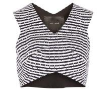 Cropped Studded Striped Cotton-piqué Top Rauchblau