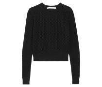 Raleigh Crochet-paneled Silk-blend Sweater Schwarz