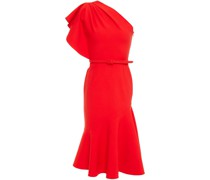 One-shoulder Fluted Wool-blend Crepe Midi Dress