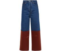 Amira Hoch Sitzende Jeans mit Weitem Bein und Satineinsatz