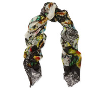 Printed Cashmere And Silk-blend Scarf Mehrfarbig