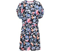 Ruched Floral-print Woven Mini Dress