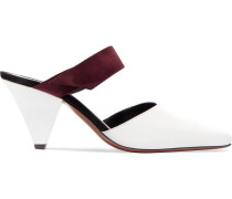 Two-tone Suede-trimmed Leather Mules