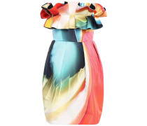 Woman Strapless Ruffled Printed Faille Mini Dress Multicolor