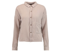 The Boxy Cropped Crinkled-cotton Shirt Champignon