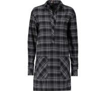 Checked Brushed-cotton Mini Shirt Dress Schwarz
