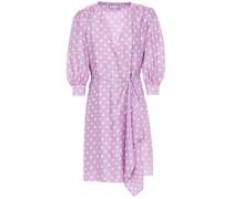 Minikleid aus Glänzendem Jacquard mit Polka-dots und Wickeleffekt