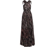 Ambrosia Pleated Printed Silk-blend Lamé Gown