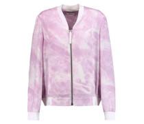 Printed silk-crepe bomber jacket
