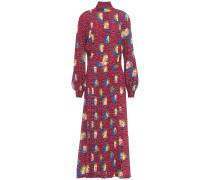 Pleated Printed Crepe Maxi Dress
