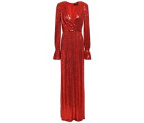 Wrap-effect Embellished Silk Crepe De Chine Gown
