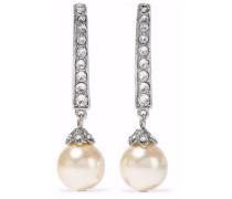 Silver-tone, faux pearl and crystal earrings