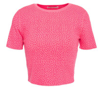 Ciara Cropped Crystal-embellished Knitted Top
