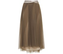 Wrap-effect Bead-embellished Pleated Tulle Midi Skirt