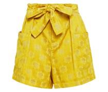Shorts aus Jacquard in Metallic-optik mit Gürtel