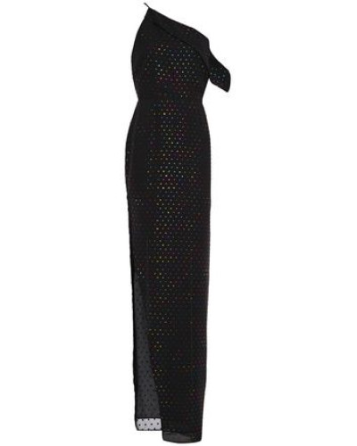 One-shoulder Metallic Fil Coupé Woven Gown Black Size 0