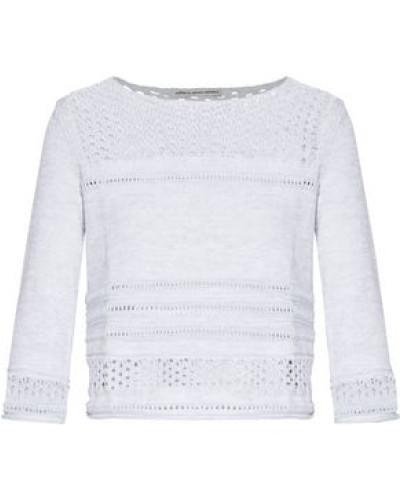 Open-knit Cotton Sweater Light Gray