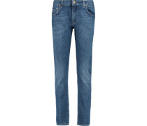 The Relaxed Skinny Mid-rise Slim-leg Jeans Mittelblauer Denim