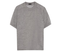 Button-embellished Merino-wool T-shirt Grau