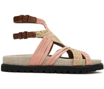 Leather-trimmed Braided Canvas Sandals