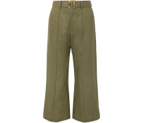 Cropped Belted Linen Wide-leg Pants