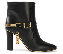 Adelaide Chain-trimmed Buckled Leather Ankle Boots Schwarz