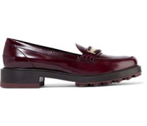Embellished Glossed-leather Loafers Burgundy
