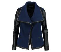 Leather-trimmed Wool-blend Bouclé Jacket Navy