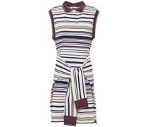 Tie-front Striped Cotton-piqué Mini Dress
