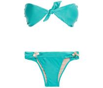 Knotted Stone-embellished Bandeau Bikini