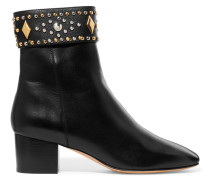 Azelie Studded Leather Boots Schwarz