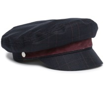 Suede-trimmed Checked Wool-blend Cap