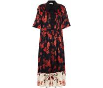 Pintucked Floral-print Devoré-velvet And Crepe Midi Dress