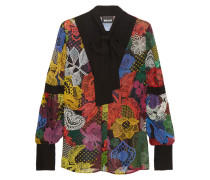 Pussy-bow Printed Silk Blouse Mehrfarbig
