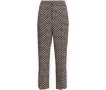 Printed Wool-twill Straight-leg Pants Off-white