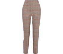 Unbridled Stovepipe Checked Stretch-cotton Slim-leg Pants