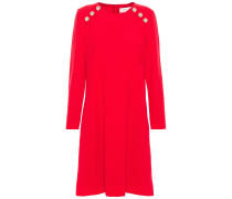 Woman Irma Button-embellished Wool-crepe Dress Red