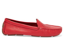Perforated Textured-leather Loafers Tomatenrot