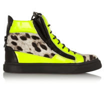 Neon Patent-leather And Leopard-print Calf Hair Sneakers Zitronengelb