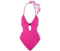 Cutout Halterneck Swimsuit Fuchsia