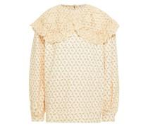 Bedrucktes Sweatshirt aus Baumwollfrottee mit Lochstickerei