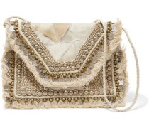 Cabara embellished calf hair and leather shoulder bag