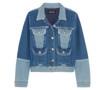 Patchwork Stretch-denim Jacket Mittelblauer Denim