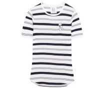 Embroidered Striped Stretch Cotton And Modal-blend T-shirt Weiß