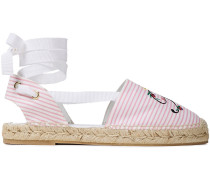 Embroidered Striped Canvas Espadrilles